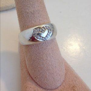 Sterling silver diamond heart band